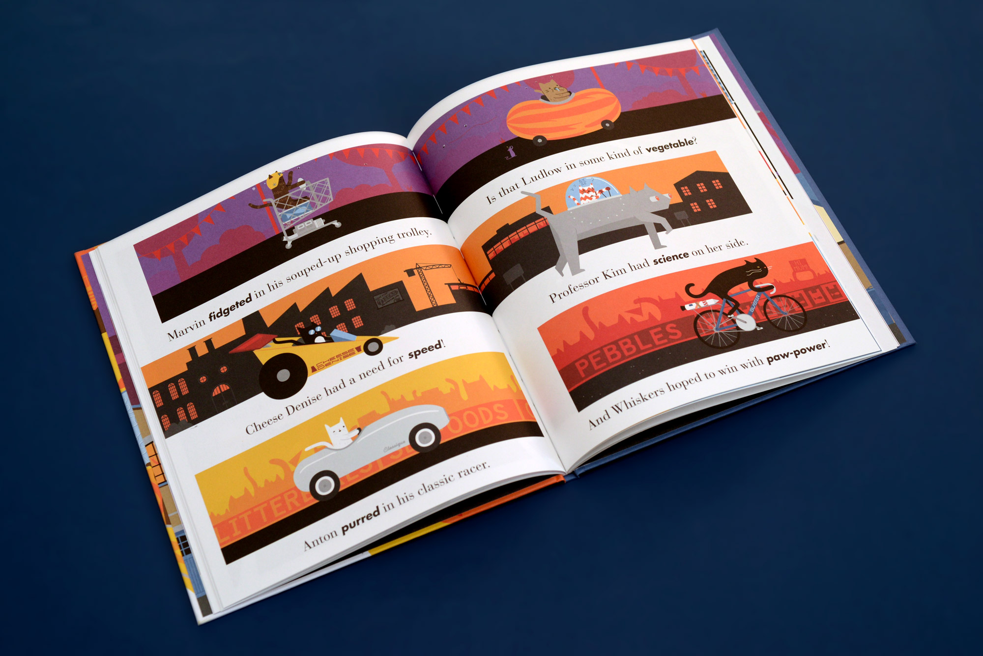 photo of a spread from the book featuring the racers lining up in their machines